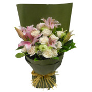 MGM Gift-wrapped Pink Lily & White Rose Bouquet