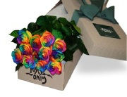 One Dozen Rainbow Rose Box