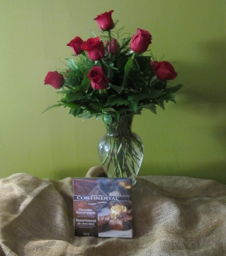 12 Roses Arranged with baby\'s breath and box of Chocolates