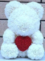 Medium Rose Bear with Pearl Heart-5