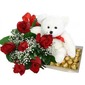 James White & Sons Flowers & Gifts Roses Bear Chocolate Scarborough