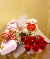 Valentine's Day One Dozen Boxed Roses With Bear