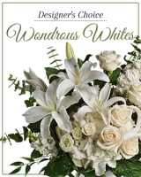 Designer's Choice Wonderous Whites arranged in a vase