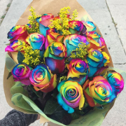 Rainbow Roses Bouquet Gift Wrapped
