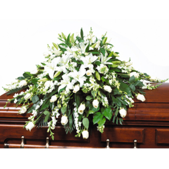 CARISMA FLORISTS® White & Cream Victorian Casket Spray CFF-007