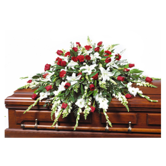 CARISMA FLORISTS® Traditional Red & White Casket Spray CFF-049