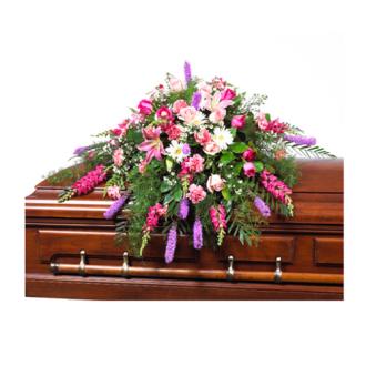 CARISMA FLORISTS® White, Pink & Mauve Casket Spray CFF-055
