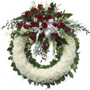 CARISMA FLORISTS® White Wreath with Roses