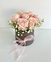 LIGHT PINK ROSE HAT BOX