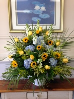 Carisma Florists® Special Arangement Whites, Yellow and Blue