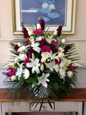 Carisma Florists® Special Arrangement White, Fuschia, Burgundy