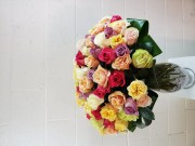 100 MIXED ROSES IN A VASE