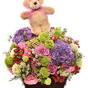 Arrangement of Cut flowers with Teddy Bear