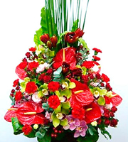 Arrangement of Cut Flowers Red Colored