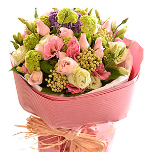 Bouquet of Cut Flowers Pastel Pinks