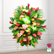 mele funeral Tropical wreath standing spray delivery in honolulu hawaii funeral florist flowers honolulu mortuary flower delivery
