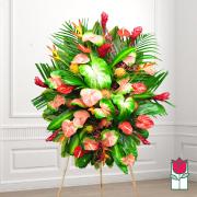 mele funeral Tropical wreath standing spray delivery in honolulu hawaii funeral florist flowers honolulu mortuary flower delivery