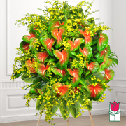 kaimana funeral Tropical wreath standing spray delivery in honolulu hawaii funeral florist flowers honolulu mortuary flower delivery