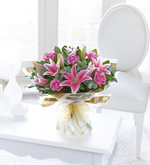 Pink Rose and Lily Hand-Tied`