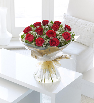 12 Red Long Stem Roses Hand-Tied