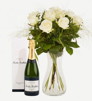 Elegant White Roses with Nicolas Feuillatte Champagne