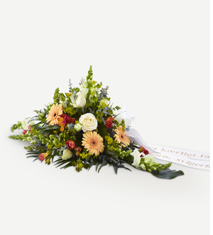 Golden Funeral Decoration With Ribbon