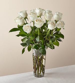 Long Stem White Rose Bouquet
