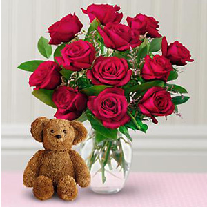 janette florists inc dozen roses with a bear windsor on n9a 4z7