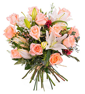 Arrangement of Roses with Lilies - Pink