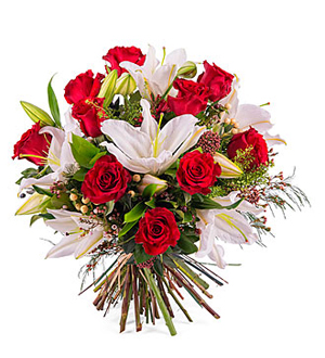 Arrangement of Roses with Lilies - Red