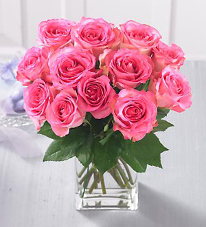 1 Dozen Medium Stem Pink Roses With Vase