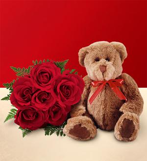 1/2 douzaine de roses rouges avec ourson