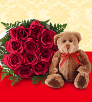 1 Dozen Red Roses with Bear- wrapped