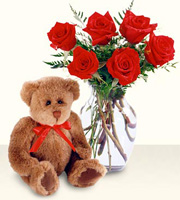 1/2 Dozen Red Roses with Vase and Bear