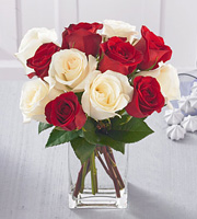 1 Dozen Favorite Red and White Roses with Vase