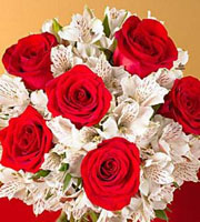 Red Rose and White Alstroemeria Bouquet - Wrapped