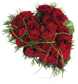 Funeral Heart with Red Roses