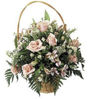 Basket Arrangement of Pink Roses