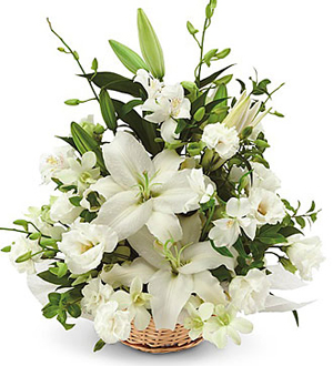 Funeral Arrangement In White Only