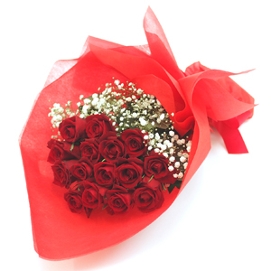 Red Roses with White Fillers