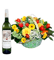 Basket Arrangement and a Bottle of Wine