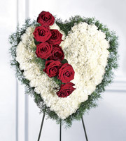 Heart shaped sympthy sprays on an easel & other sympathy ideas for delivery to funeral homes in Grand Rapids, Byron Center & Rockford by Sunnyslope Floral