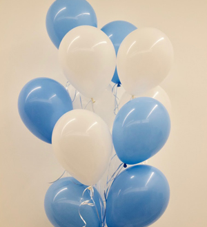 Dozen Latex Balloons Blue and White