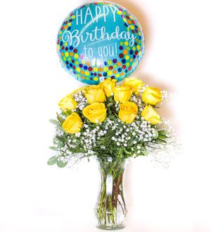 Unforgettable Dozen Rose Yellow Bundle Birthday
