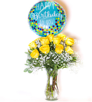 Unforgettable Dozen Rose Yellow Bundle Birthday