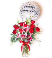 Classic Rose Lily Red Anniversary Bundle