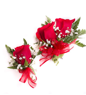 Rose Corsage and Boutonniere Combination Red