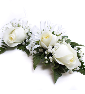Rose Corsage and Boutonniere Combination White