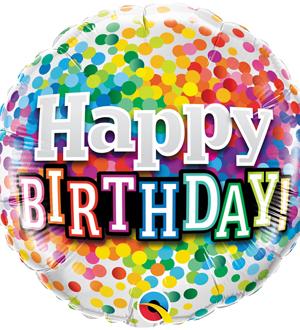 Rainbow Confetti Birthday Balloon
