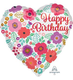 Floral Print Birthday Balloon